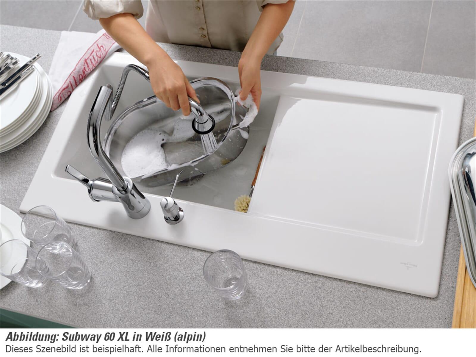 Villeroy & Boch Subway 60 XL White Pearl - 6718 01 KT Keramikspüle Handbetätigung
