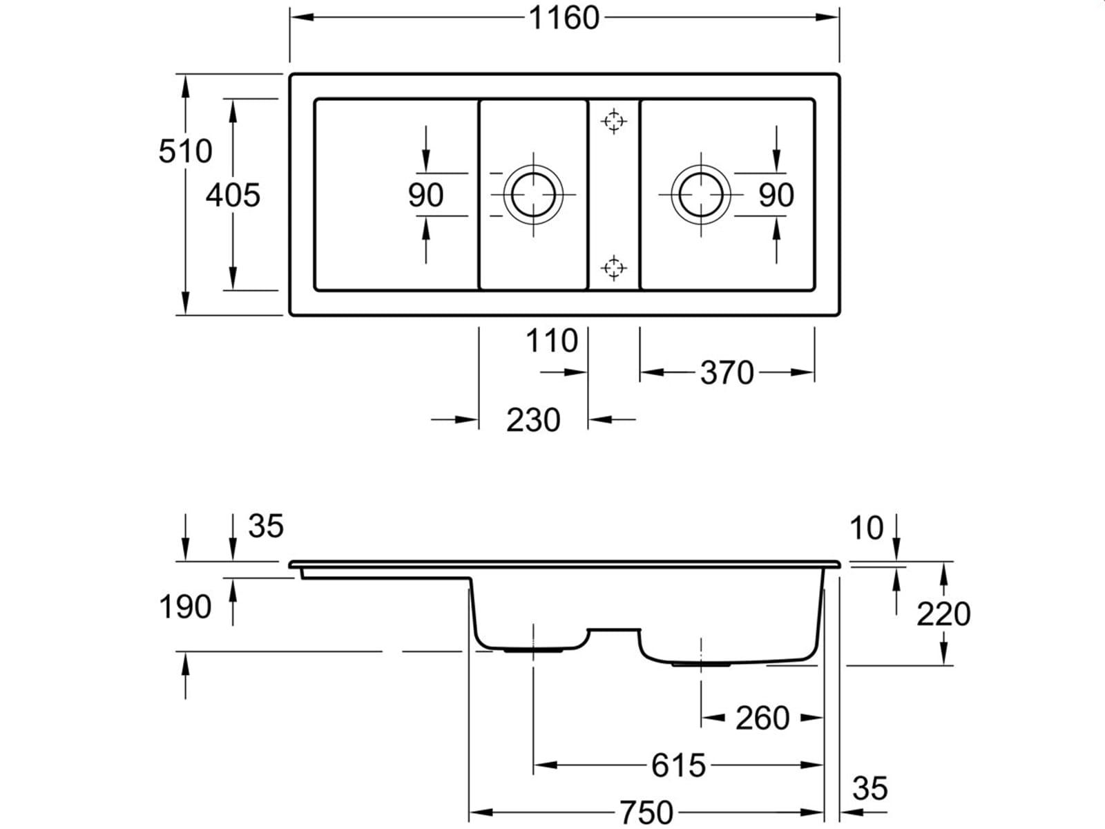 Villeroy & Boch Subway 80 Timber - 6726 01 TR Keramikspüle Handbetätigung
