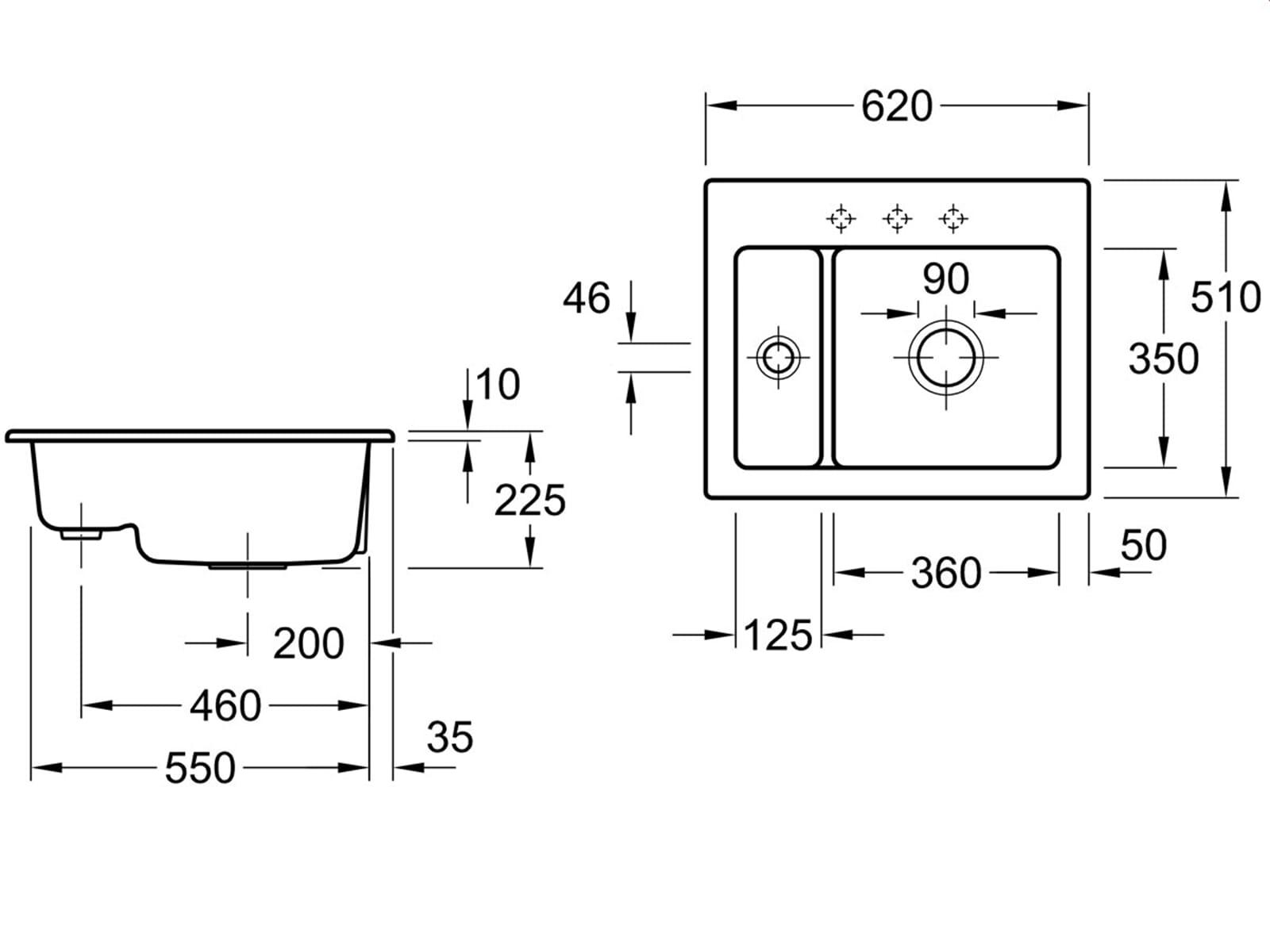 Villeroy & Boch Subway 60 XM Almond - 6780 01 AM Keramikspüle Handbetätigung
