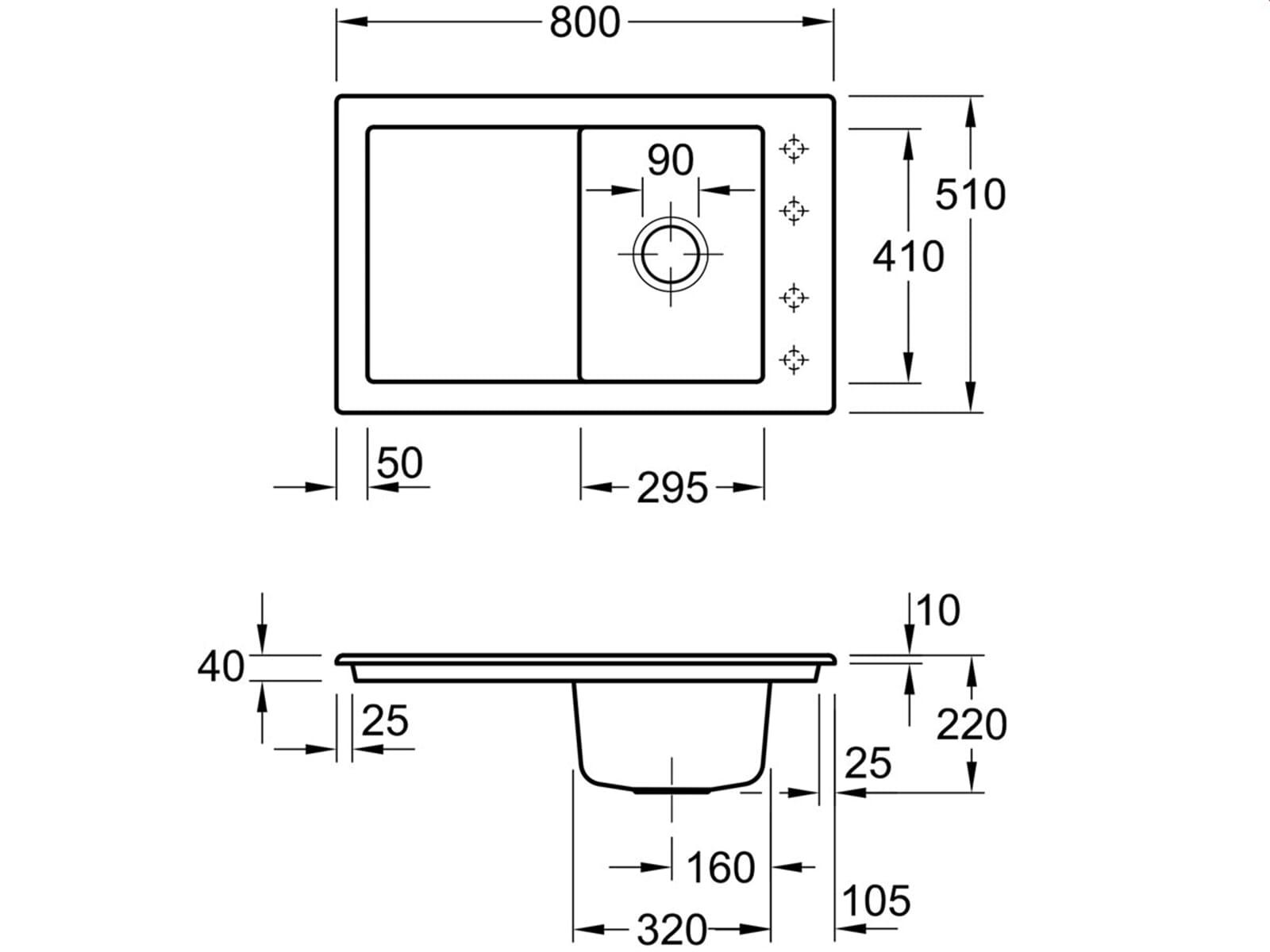 Villeroy & Boch Timeline 45 Timber - 6791 02 TR Keramikspüle Exzenterbetätigung