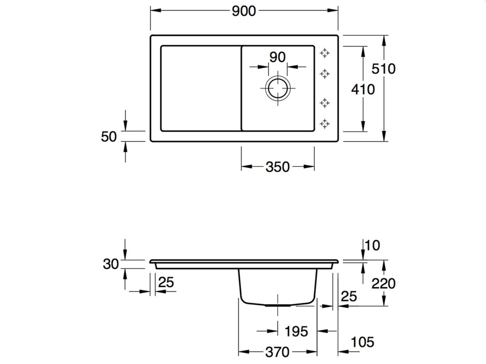 Villeroy & Boch Timeline 50 Crema - 3307 01 KR Keramikspüle Handbetätigung